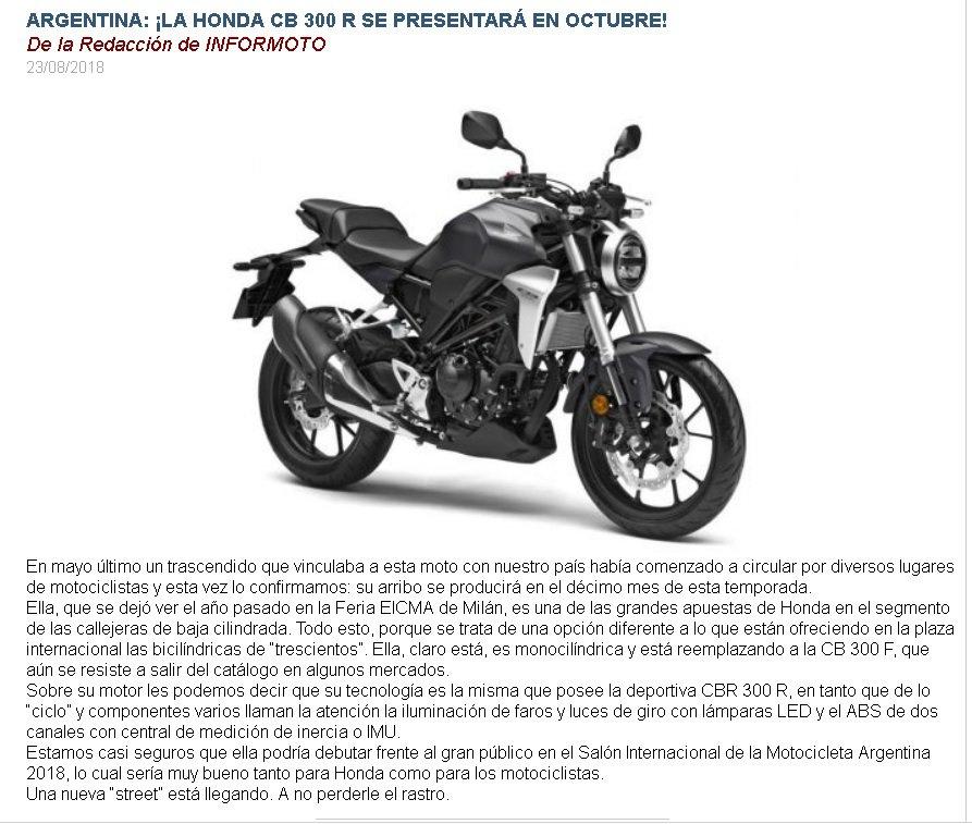 Honda CB 300R (Naked) en Argentina, Oct/2018 • Club